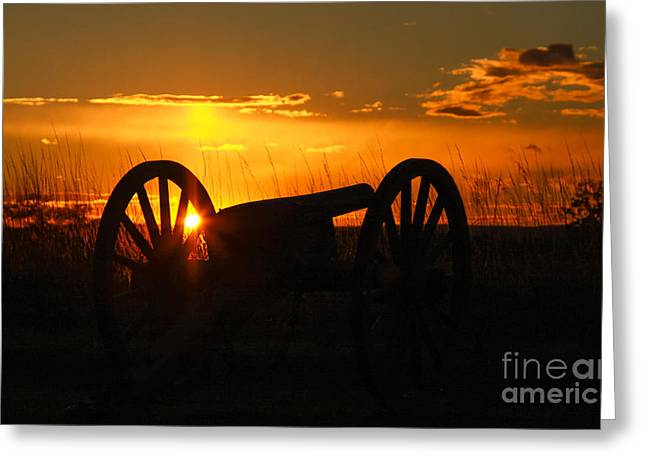 Gettysburg Cannon Sunset Greeting Card