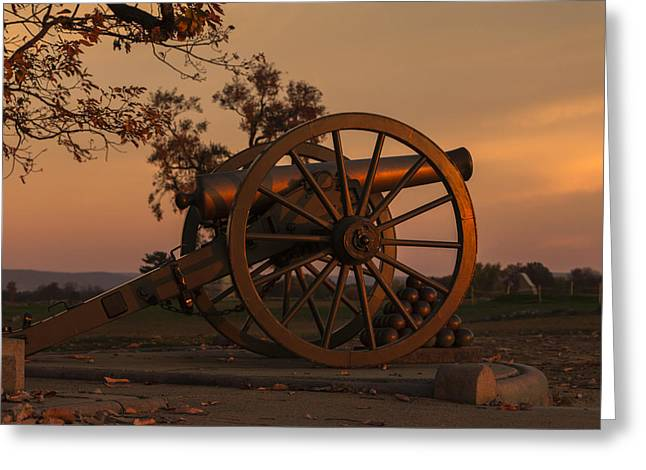 Gettysburg - Cannon With Cannon Balls At Sunrise Greeting Card