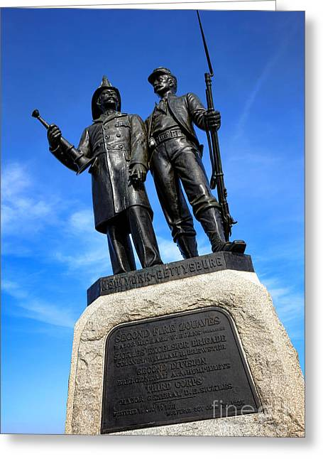 Gettysburg National Park 73rd Ny Infantry Second Fire Zouaves Memorial Greeting Card by Olivier Le Queinec