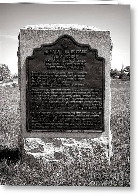Gettysburg National Park Army Of The Potomac First Corps Monument Greeting Card