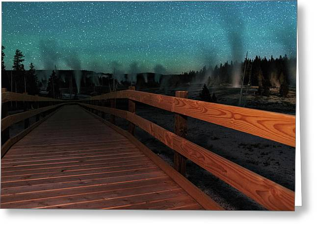 Geyser Basin Boardwalk Greeting Card by Mike Berenson