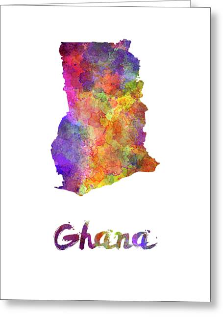 Ghana In Watercolor Greeting Card by Pablo Romero