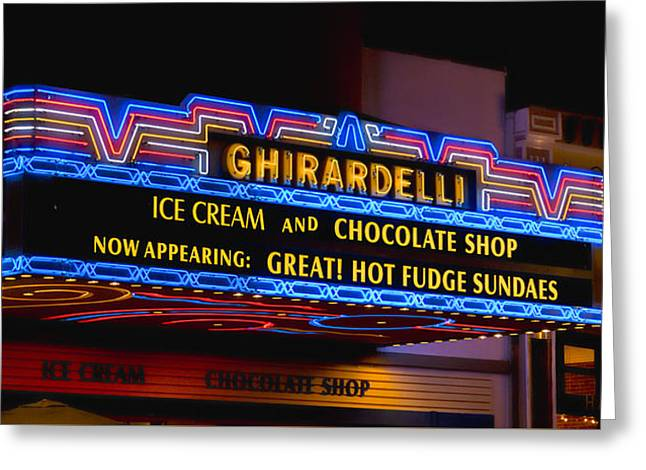 Ghirardelli Chocolate Neon Greeting Card by Stephen Stookey