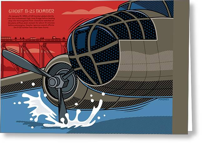 Greeting Card featuring the digital art Ghost B-25 Bomber by Ron Magnes