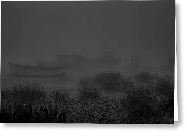 Ghost Boats. A Dark Ghostly Fine Art Photographic Print Of Boats Shrouded In Fog On Aldeburgh Beach  Greeting Card
