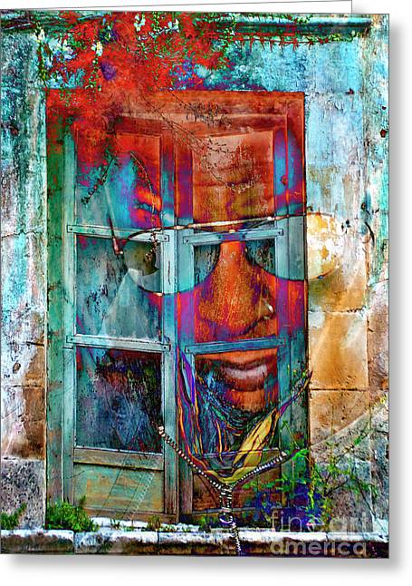 Greeting Card featuring the digital art Ghost Goes Through Wall by Silva Wischeropp