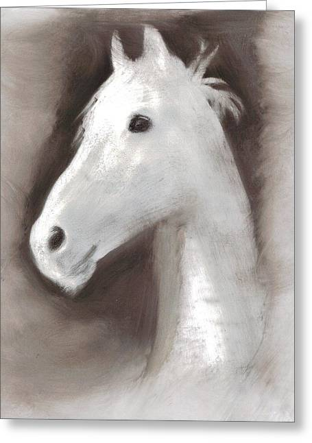 Greeting Card featuring the painting Ghost Horse by FeatherStone Studio Julie A Miller