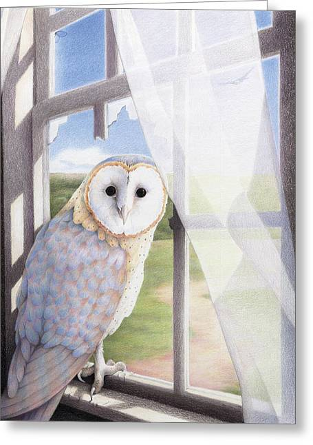 Ghost In The Attic Greeting Card by Amy S Turner