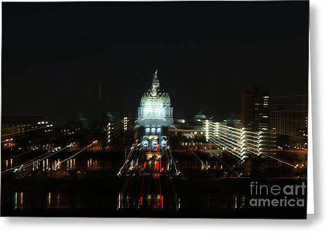 Ghost Lights Of Pa State Capital   # Greeting Card by Rob Luzier