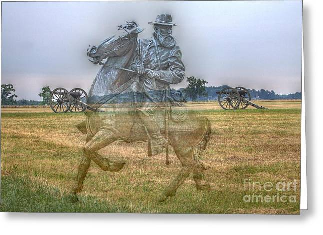 Confederate Monument Greeting Cards - Ghost Of Gettysburg Greeting Card by Randy Steele