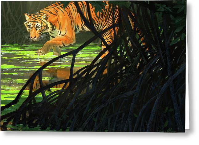 Ghost Of The Sunderbans - Bengal Tiger Greeting Card