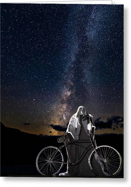 Ghost Rider Under The Milky Way. Greeting Card