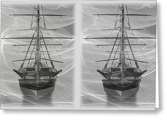 Ghost Ship - Gently Cross Your Eyes And Focus On The Middle Image Greeting Card by Brian Wallace