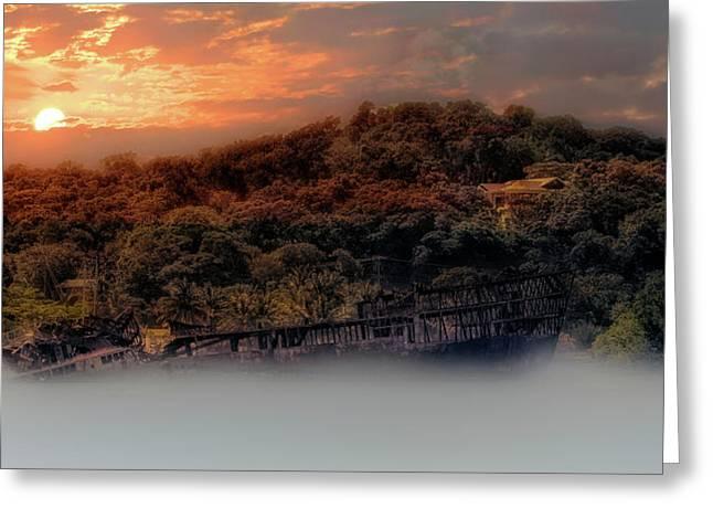 Greeting Card featuring the photograph Ghost Ship Of Isla Roatan - Mahogany Bay Shipwreck - Honduras by Jason Politte