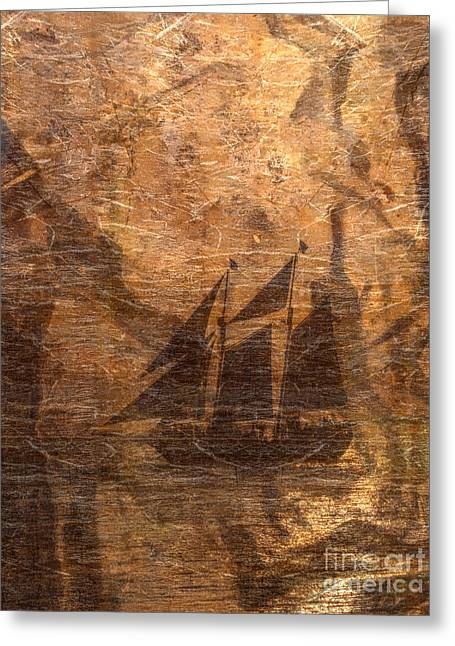 Ocean Sailing Greeting Cards - Ghost Ship Greeting Card by Randy Steele