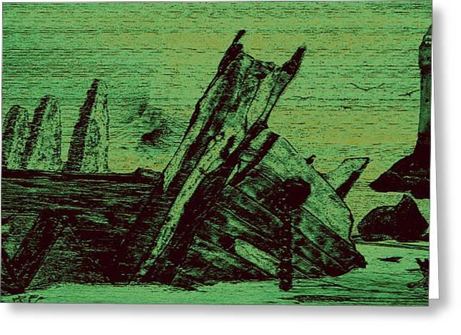 Ghost Shipwreck Greeting Card by Ken Figurski