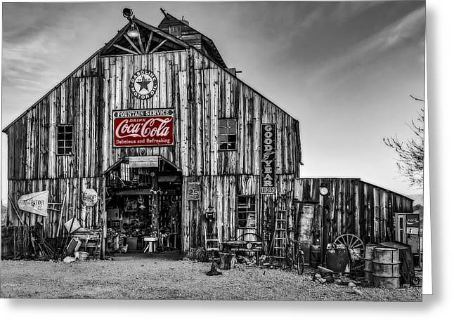 Ghost Town Barn Bw Greeting Card