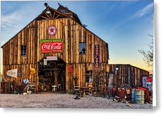 Ghost Town Barn Greeting Card by Susan Candelario