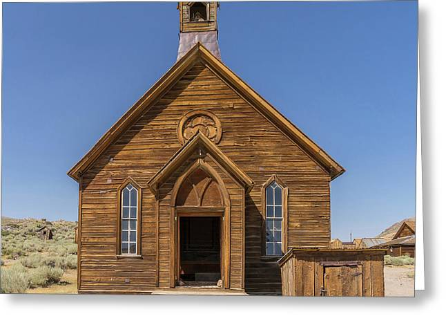 Ghost Town Of Bodie California Methodist Church Dsc4473sq Greeting Card by Wingsdomain Art and Photography