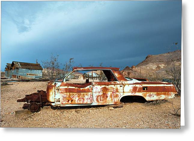 Ghost Town Old Car Greeting Card by Catherine Lau