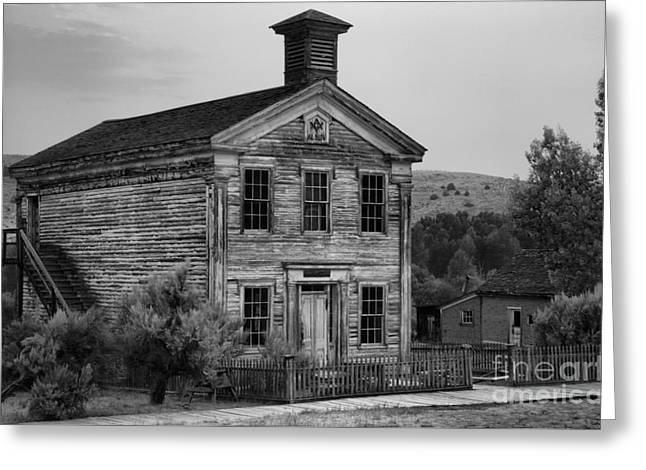 Ghost Town School House Black And White Greeting Card