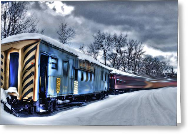Ghost Train In An Existential Storm Greeting Card
