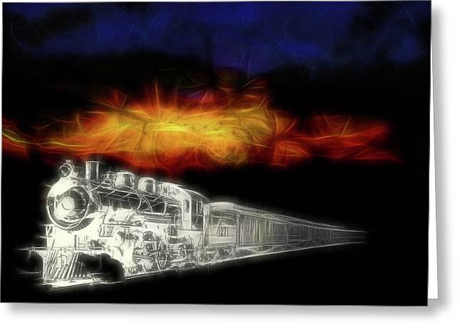 Greeting Card featuring the digital art Ghost Train by John Haldane