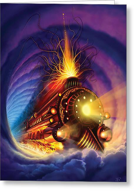 Ghost Train Greeting Card by Philip Straub