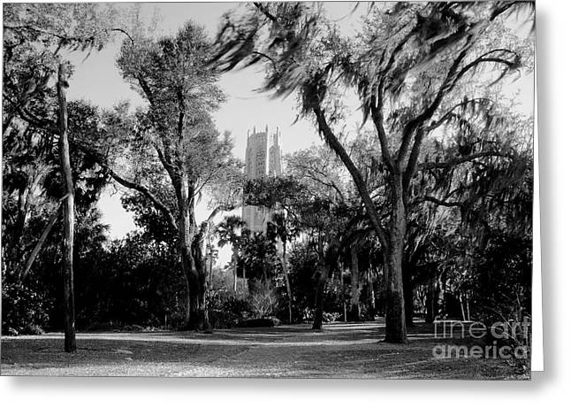 Ghostly Bok Tower Greeting Card by David Lee Thompson