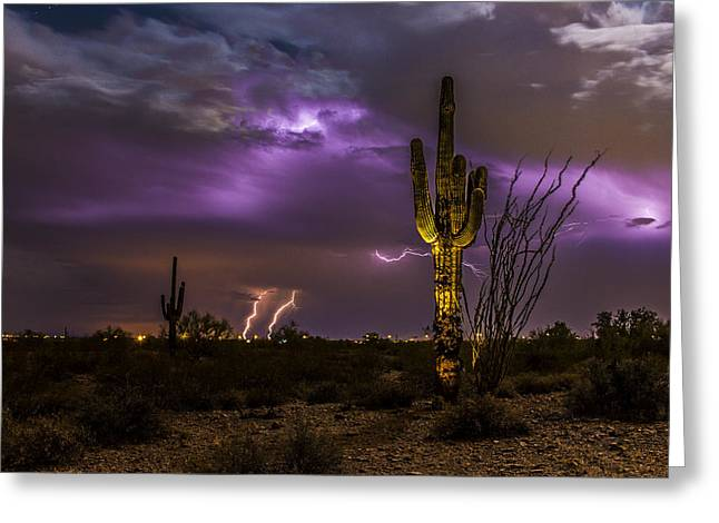 Ghostly Saguaro And Thunderstorm Greeting Card by Chuck Brown