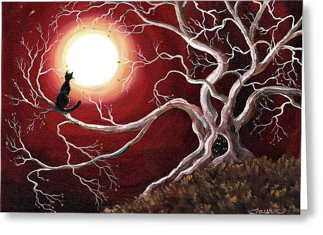 Mystical Moons Greeting Cards - Ghostly Tree with Black Cat Greeting Card by Laura Iverson