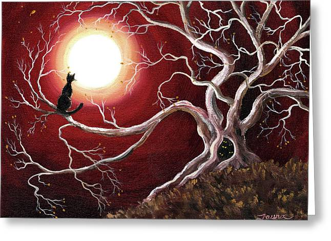 Ghostly Tree With Black Cat Greeting Card by Laura Iverson