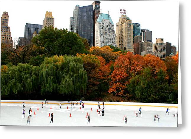 Ghosts At Wollman Rink Central Park Greeting Card by Christopher Kirby