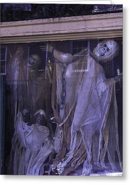 Ghosts In Window Greeting Card by Garry Gay