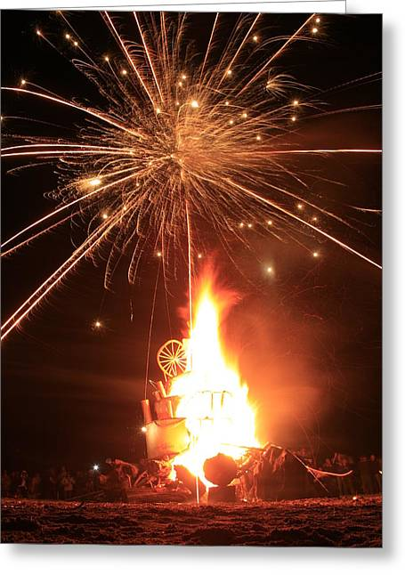 Giant Birthday Cake With Fireworks On Top Greeting Card by Dave Brooksher