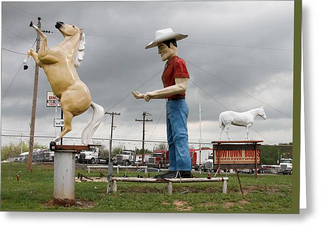 Giant Cowboy And Horses Greeting Card by Tony Grider