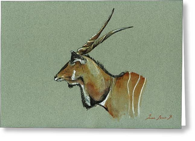 Giant Eland Greeting Card by Juan  Bosco