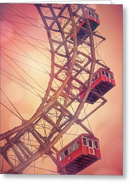 Giant Ferris Wheel Prater Park Vienna  Greeting Card