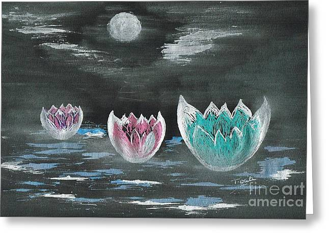 Giant Lilies Upon Misty Waters Greeting Card
