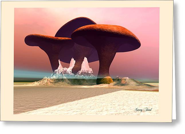 Giant Mushrooms Greeting Card by Corey Ford