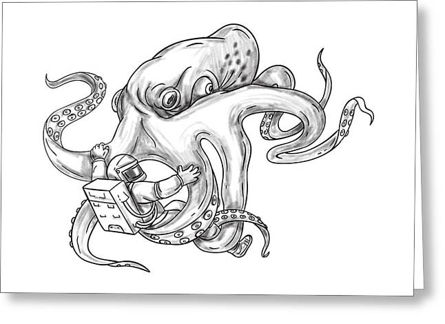 Giant Octopus Fighting Astronaut Tattoo Greeting Card by Aloysius Patrimonio