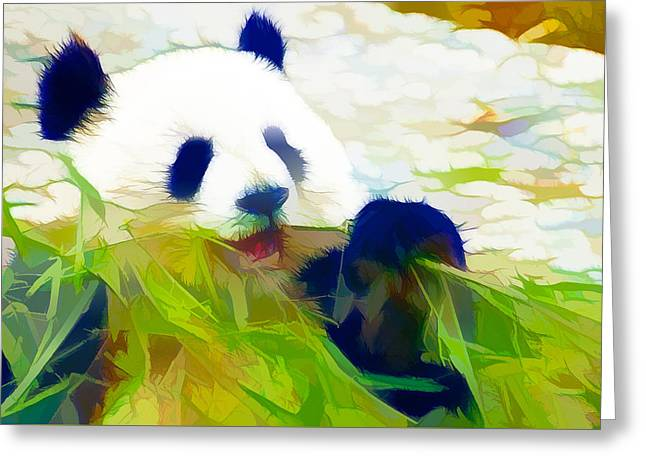 Greeting Card featuring the painting Giant Panda Bear Eating Bamboo by Lanjee Chee