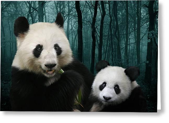 Ailuropoda Melanoleuca Greeting Cards - Giant Pandas Greeting Card by Julie L Hoddinott