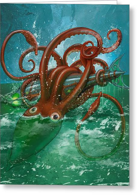 Giant Squid And Nautilus Greeting Card