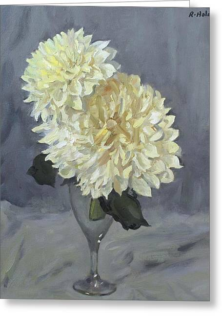 Giant White Dahlias In Wine Glass Greeting Card