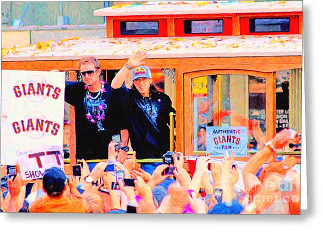 Downtown San Francisco Greeting Cards - Giants 2010 Champions Parade 2 . Photo Artwork Greeting Card by Wingsdomain Art and Photography