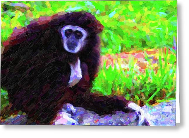 Gibbon Greeting Card by Wingsdomain Art and Photography