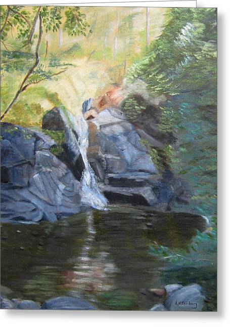 Greeting Card featuring the painting Gibbs Falls by Linda Feinberg