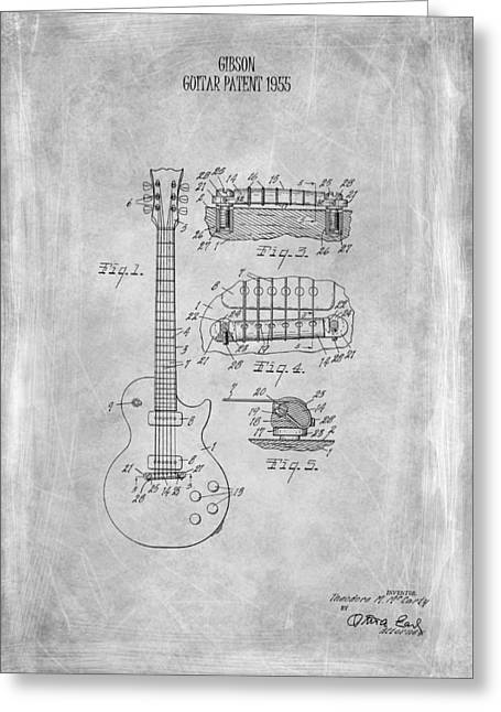 Gibson Guitar Patent From 1955 Greeting Card by Mark Rogan