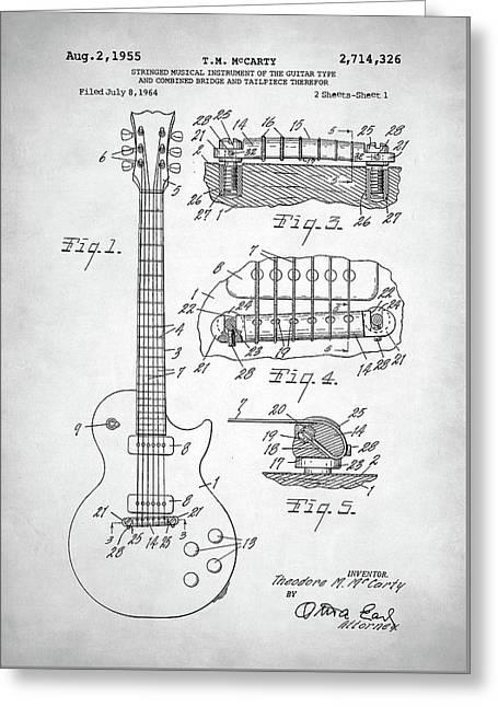 Greeting Card featuring the digital art Gibson Les Paul Electric Guitar Patent by Taylan Apukovska